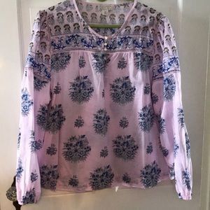 Block print floral blouse